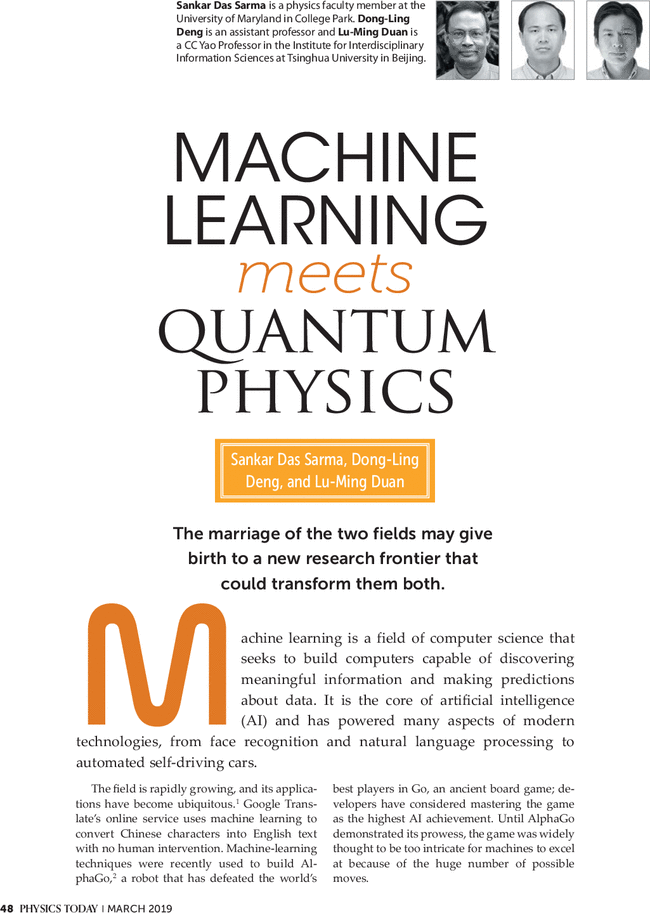 Machine learning meets quantum physics: Physics Today: Vol 72, No 3